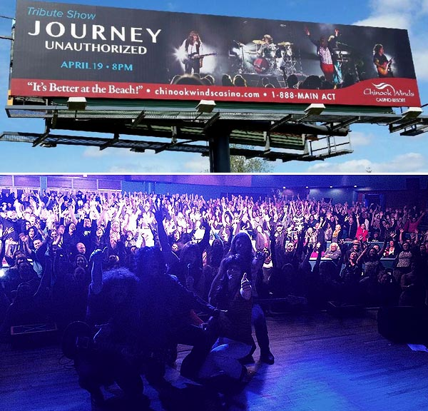 Journey Unauthorized performing at Chinook Winds Casino Resort, Lincoln City, OR